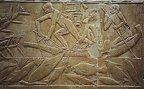 I pescatori, Anonimo,epoca egiziana predinastica antica (III millennio a.C.) ,Bassorilievo su granito,mastaba di Kagemmi, Saqqara
