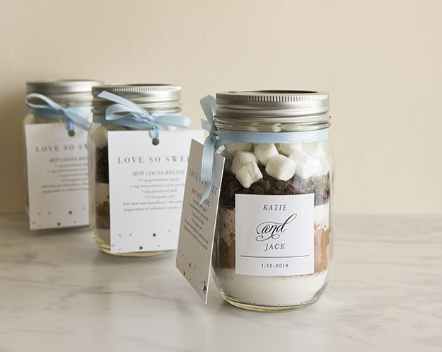 A DIY wedding favor project - create a take home jar filled with delicious hot cocoa mix.