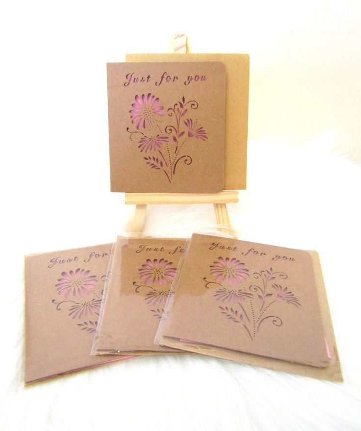 NEW 4 Sets Mini Laser Cut Out Flower Gift Cards & Envelopes - Just for You Pink