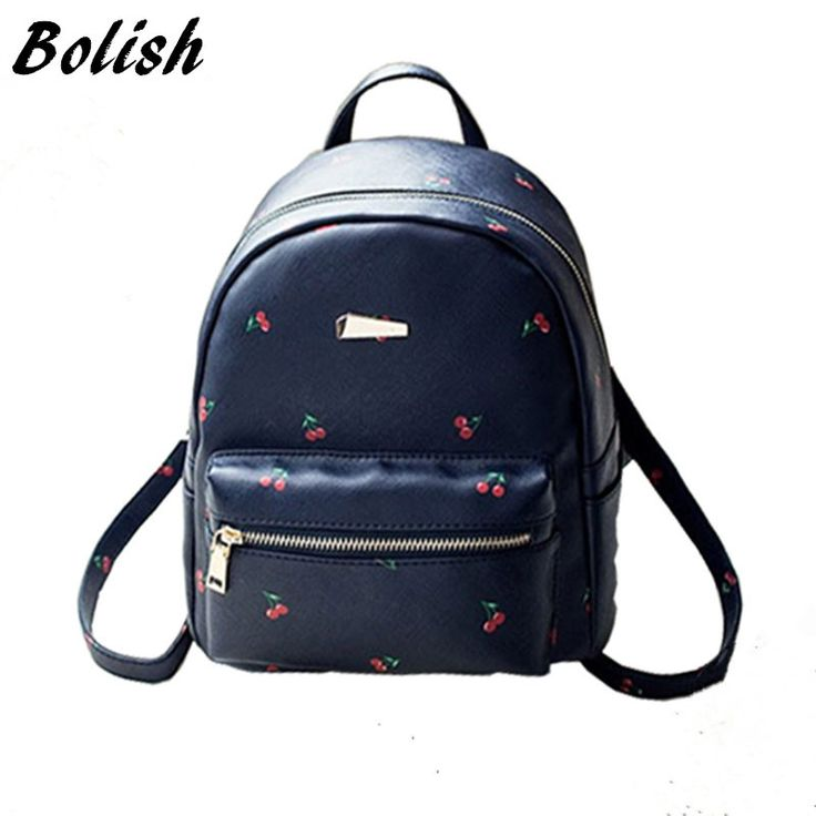 Bolish Fashion Fruit Printing Women Backpack College Style Girls School Bag High Quality PU Leather Women Bag