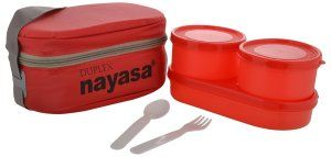 Amazon- Buy Nayasa Duplex Softline Plastic Lunch Box 3-Pieces Red at Rs 196