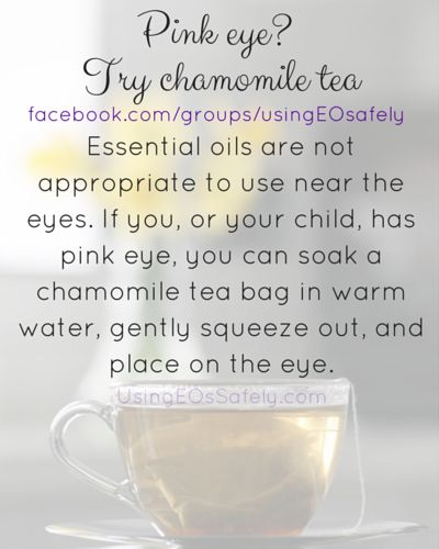 Essential oils are not appropriate to use near the eyes. If you, or your child, has pink eye, you can soak a chamomile tea bag in warm water, gently squeeze out, and place on the eye.