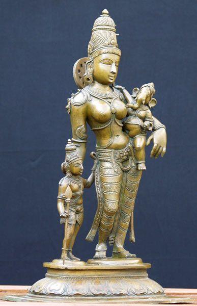 Parvati Ganesh Murugan Bronze Statues, Parvati Sons Ganesh Murugan