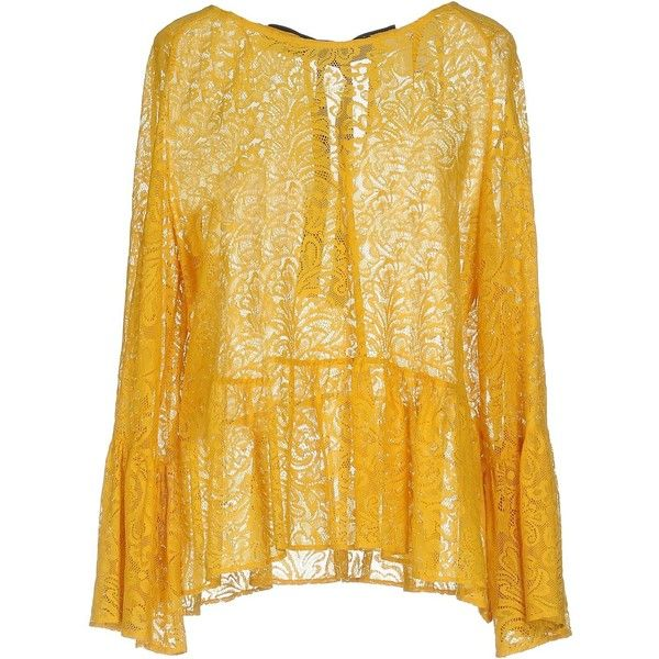 Jucca Blouse ($214) ❤ liked on Polyvore featuring tops, blouses, yellow, bow blouse, lacy blouses, yellow long sleeve top, long sleeve bow blouse and lace top