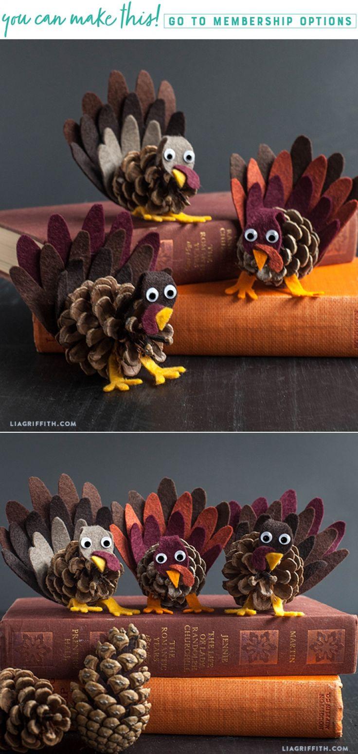 DIY Felt and Pinecone Turkey Craft www.LiaGriffith.com #DIYThanksgiving #ThanksgivingCrafts #DIYTurkey #TurkeyCrafts #FallCrafts #DIYFall #FallDIYIdeas