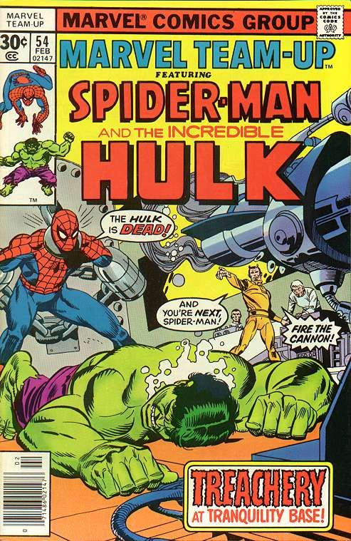 """Marvel Team-Up vol.1 # 54, """"Spider in the Middle!"""" (February, 1977). Cover by Gil Kane & Mike Esposito."""