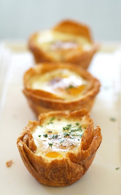 Baked Eggs in Croissant Nests - like the idea of croissant nests - sweet or savoury
