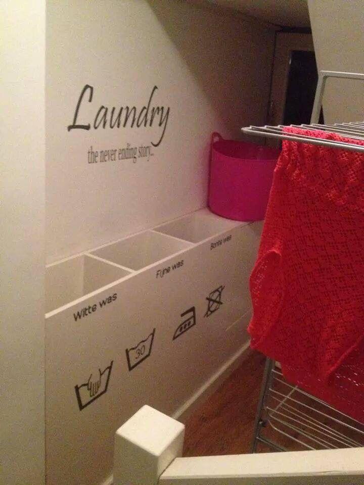Mooie oplossing in plaats van losse wasmanden.