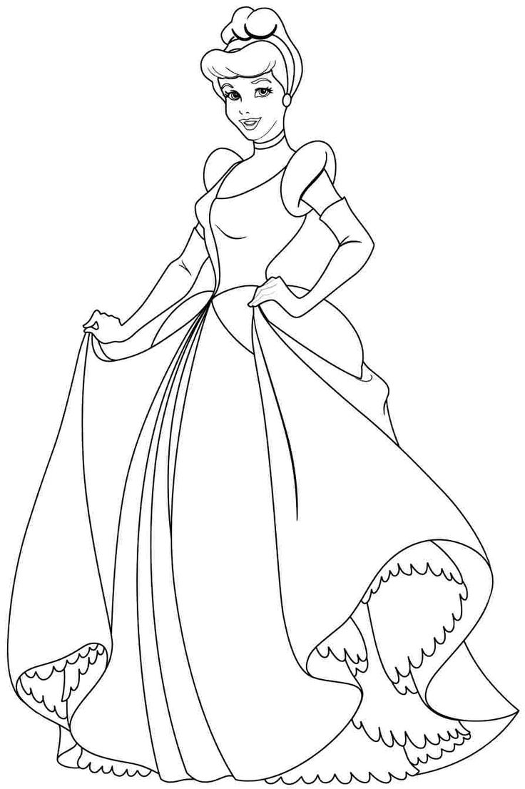 Summer clothes coloring pages - Disney Princess Cindirella Coloring Page
