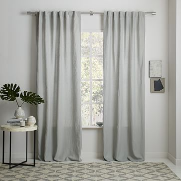 Belgian Flax Linen Curtain - Platinum #westelm I found this nice light grey linen.