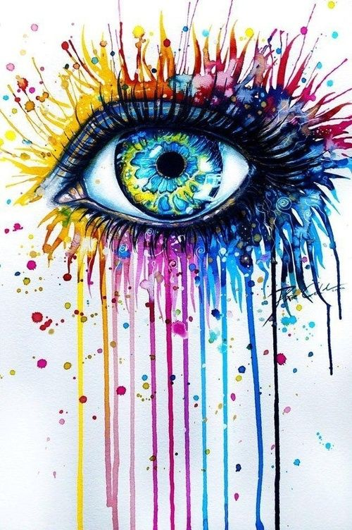 This picture shows color because there is many different colors surrounding the eye. The different colors create a different feeling. When I look at the blue and red its more sad but on the other side with the yellow its brighter and happier. Selected by http://sleepbamboo.com/