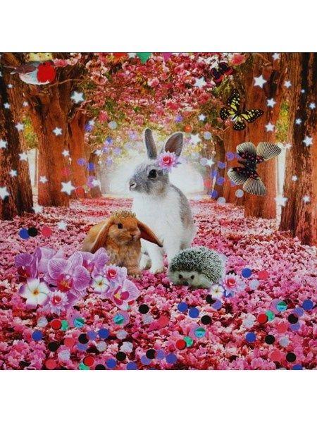 Bomuldsjersey - panel med skøn kanin og andre søde ting