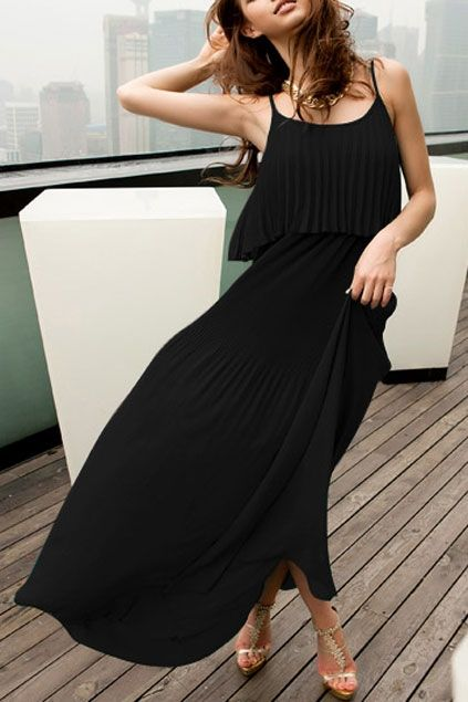 Dress made of chiffon, featuring double slim straps, pleats to main, bound waist, in ankle length cut.