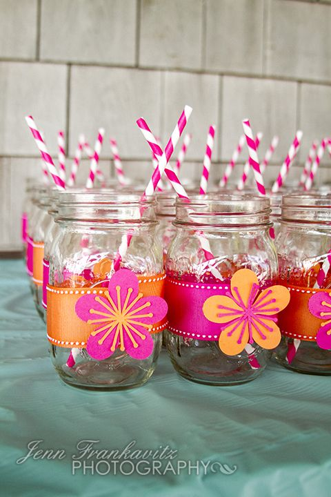 Beach Bridal Shower ~Beverages in Mason Jars w/ Straws #beach #bridal #shower #beverages #mason #jars #straws #flowers #pink #orange #tropical #mint #outdoors @WedFunApps wedfunapps.com ♥'d