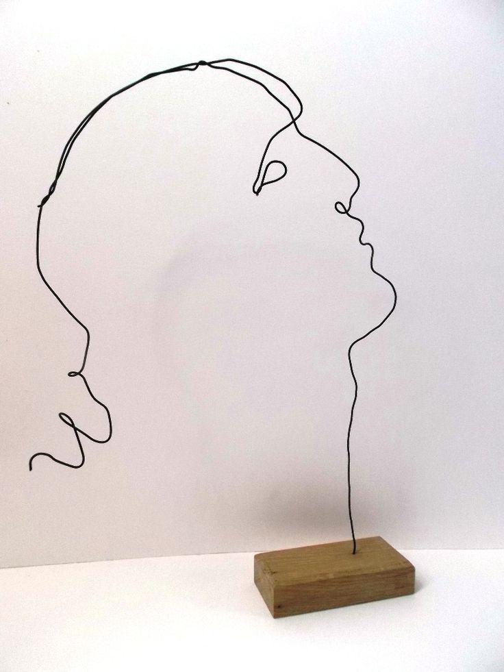 sculpture fil de fer le jeune homme penseur : Sculptures, gravures, statues par fildereve