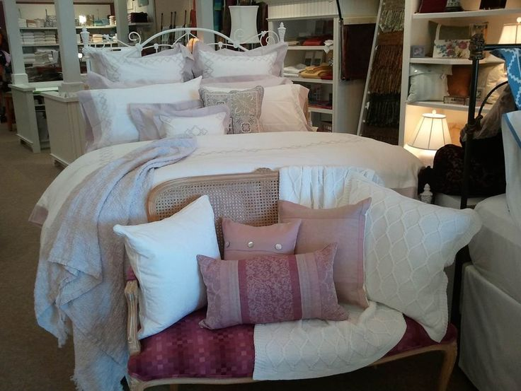 Our Quarto  bedding in Lilac Ash is looking refreshingly light and airy at Percy's Fine Linens in Mequon, WI.