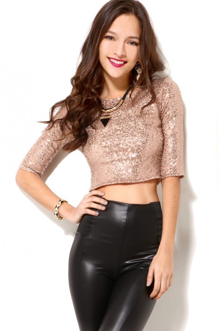 Black and Gold Glitzy Sequined Top