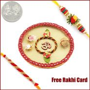 Om Rakhi Thali with Free Silver Coin to Jaipur