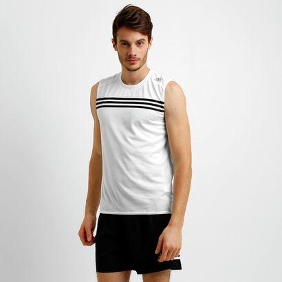 A Camiseta Regata Adidas Response Branco e Preto é ideal para acompanhar o seu ritmo durante as corridas. Proporciona conforto e liberdade, mantendo o corpo seco e fresco. | Netshoes