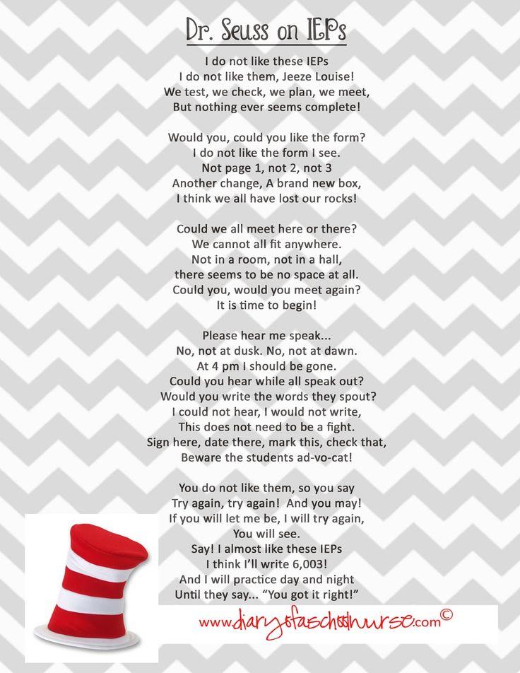 Dr. Seuss Poem on IEPs- free printable!