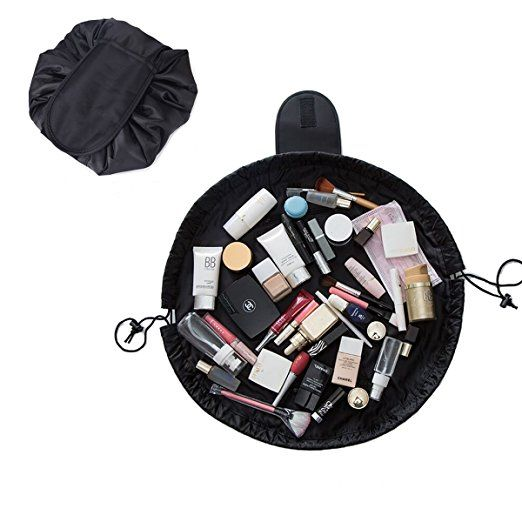 0e8942f9a04 Multifunction Casual Cosmetic Bag Travel Lazy Makeup Storage Bag Waterproof  Women s Toiletry Bag, Drawstring Foldable Large Capacity, Easy Pack (Black)