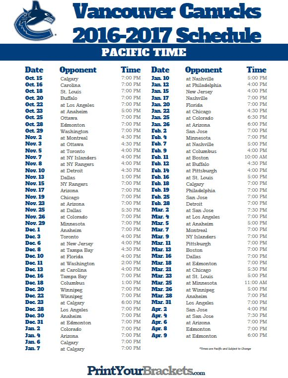 Pacific Time Vancouver Canucks Schedule
