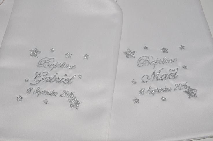 Pour jumeaux ou frère/soeur:2 écharpes de baptême bébé étoiles personnalisée brodée gris garçon ou fille : Mode Bébé par lbm-creation