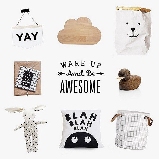 ✪ BLACK, WHITE & WOOD decorations for a kids room