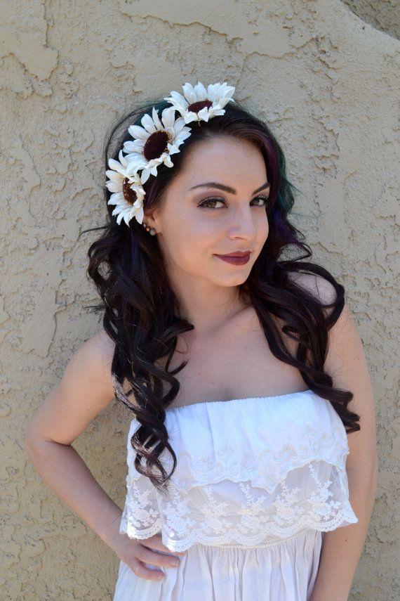 Sunflower Headband - Cream White Sunflowers - Flower Headband - Flower Crown - Hair Accessories - Hippie - Music Festivals - Raves