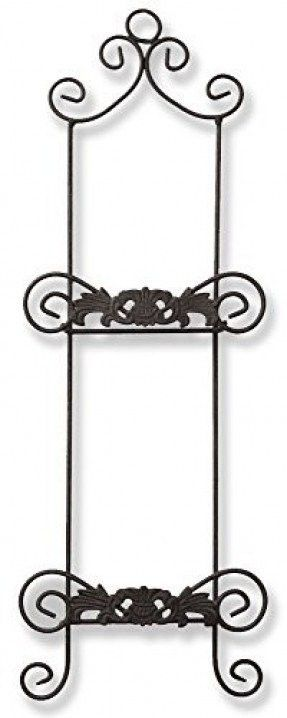 2 Tier Plate Rack Black Metal Wire Wrought Iron With
