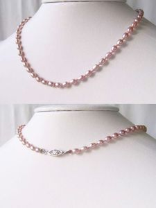 LILAC PINK Freshwater Pearl & 925 Sterling Silver 15 inch Choker NECKLACE 9915G