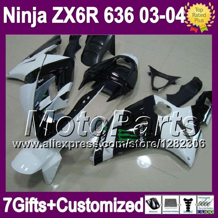 Черный белый 7 подарки для KAWASAKI ниндзя ZX-6R 03 04 новый черный белый * 881 ZX 6 R ZX 6R 636 2003 2004 ZX6R ZX636 03 - 04 зализа