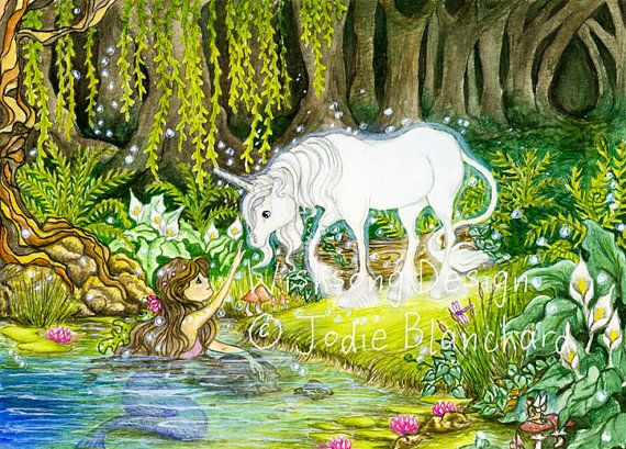 "Unicorn and mermaid painting, fantasy art, girls room decor ""An Enchanted Encounter"" archival fine art print"