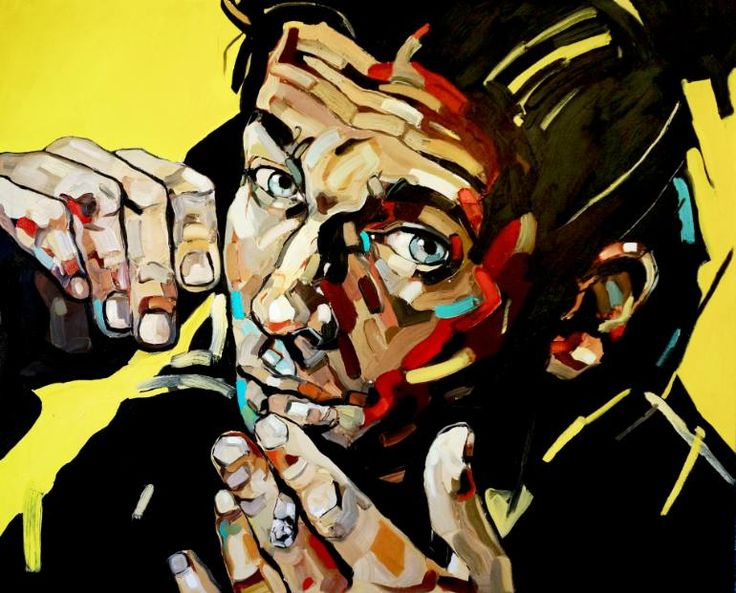Smoking Man, a Oil on Canvas by Anna Bocek from Poland. It portrays: Portrait, relevant to: portrait, smoking, Pop art, cigarette, man from smoking series