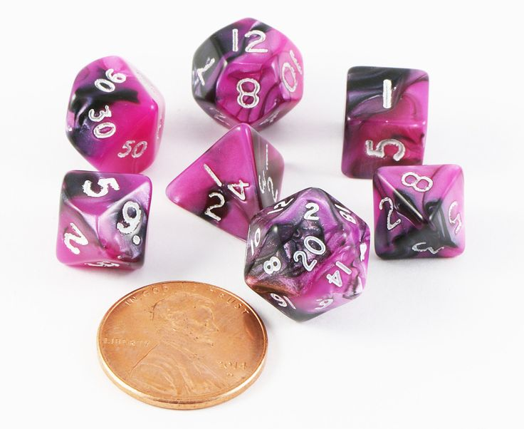 Mini Toxic Dice (Pink Black) RPG Role Playing Game Dice