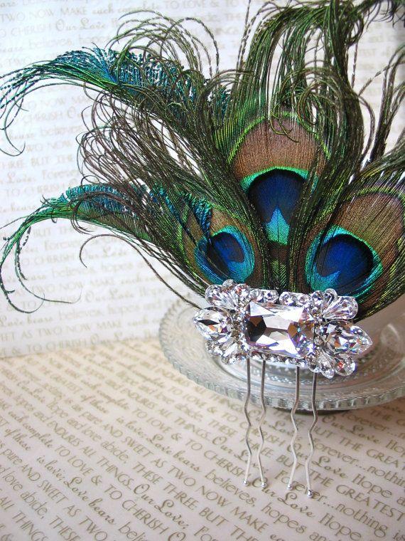 Items Similar To Peacock Fascinator, Peacock Feather Hair Accessory, Bridal  Hair Pin, Swarovski Crystals On Etsy