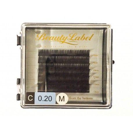 Beauty Label C krul nieuw mini tray Staat  Nieuw  Deze mini tray bevat 6 rijtjes wimpers van verschillende lengtes : 8,9,10,11,12,13. De doosjes wimpers zijn verkrijbaar in de C krul en de D krul en dikte 0.15 en 0.20.