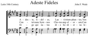 """Adeste Fideles"" (a Christmas carol originally written in Latin, later known as ""The Portuguese Hymn"" and then translated to English  ""O Come, All Ye Faithful"") has been attributed to various authors, including John Francis Wade (1711–1786), with the earliest copies of the hymn all bearing his signature, John Reading (1645–1692) and King John IV of Portugal (1604–1656)."