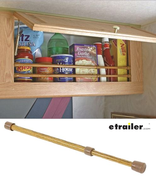 Keep the items in your RV cabinets or refrigerator secure during travel. Bar keeps contents of your shelves from sliding out or around.