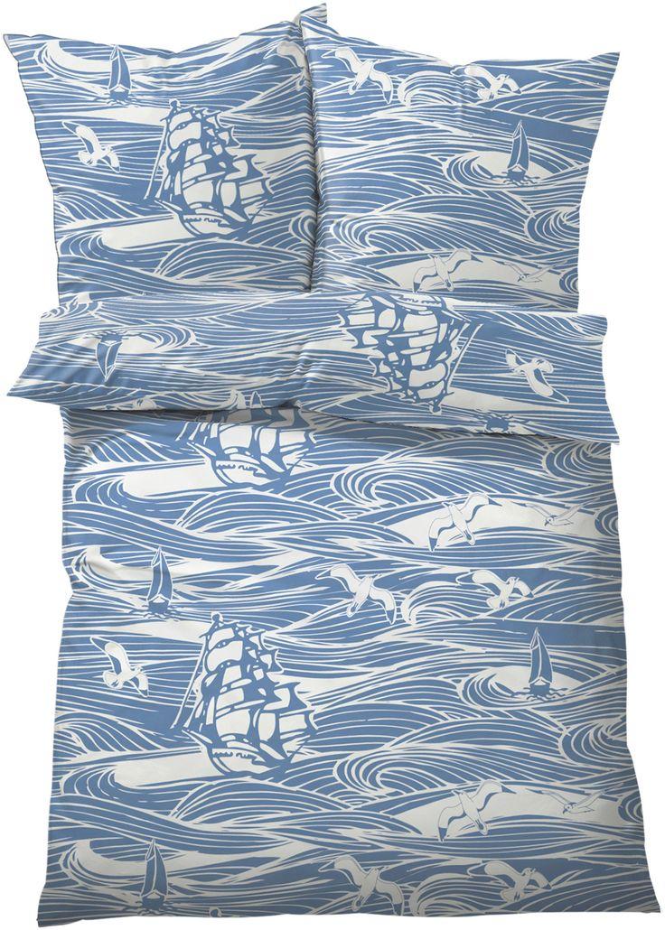 """Bettwäsche """"Maritim"""", Linon blau - bpc living jetzt im Online Shop von bonprix.de ab ? 17,99 bestellen. Diese Bettwäsche in Blau-Weiß-Tönen verleiht Ihrem ..."""