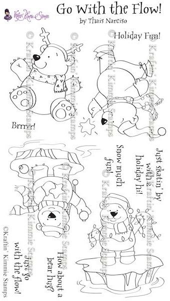 TN004 Kraftin' Kimmie Unmounted Rubber Stamp Set Go With the Flow $19.20