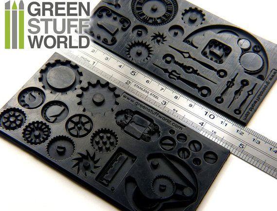 PACK x2 Moldes de texturas Steampunk Molde por GreenStuffWorld