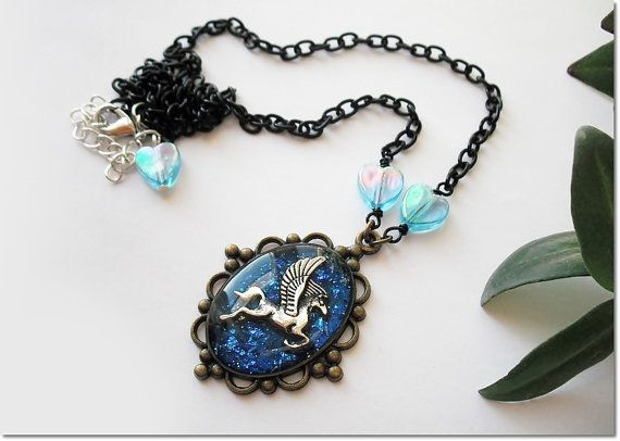 Pegasus necklace iridescent winged horse by AquascentCreations