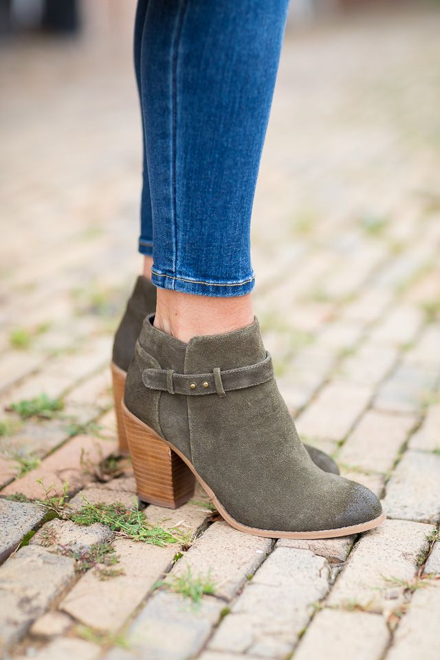 The perfect army green suede booties for fall | Sole Society Lyriq