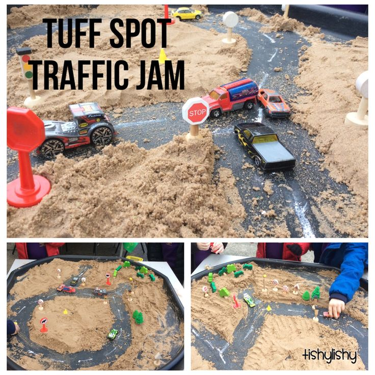 Tuff spot, sand, vehicles and road signs.