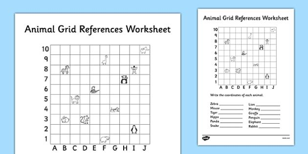 Animal Grid References Worksheet Coordinates Worksheet Co Ordinates Worksheet Find The Coordinates Coordinates Graph Finding Worksheets Number Grid Grid