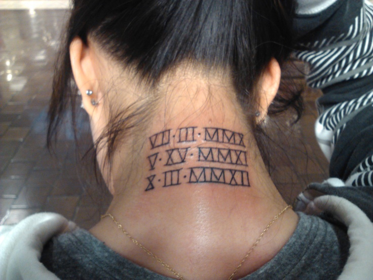 Roman numerals tattoo my pins pinterest roman for Adam reynolds neck tattoo