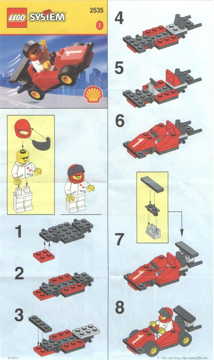 lego instructions | Instructions for 2535-1 - SHELL Promotional Set: Race Car