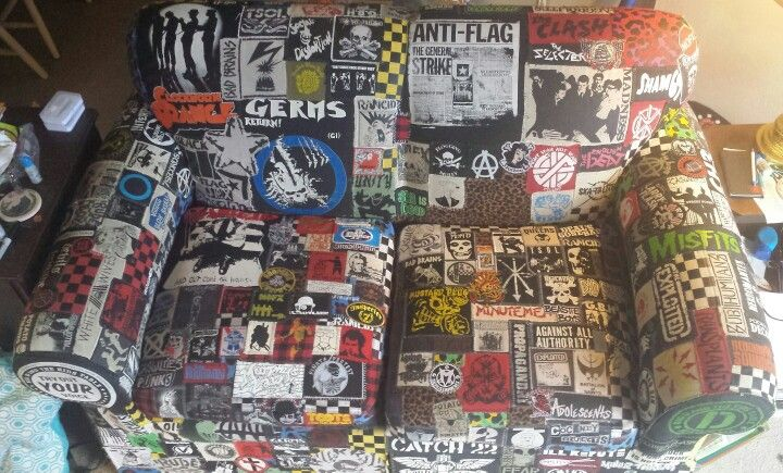 It's a couch I am covering in Punk patches! And check out the facebook page as well.    https://m.facebook.com/ThePatchCouch?_rdr