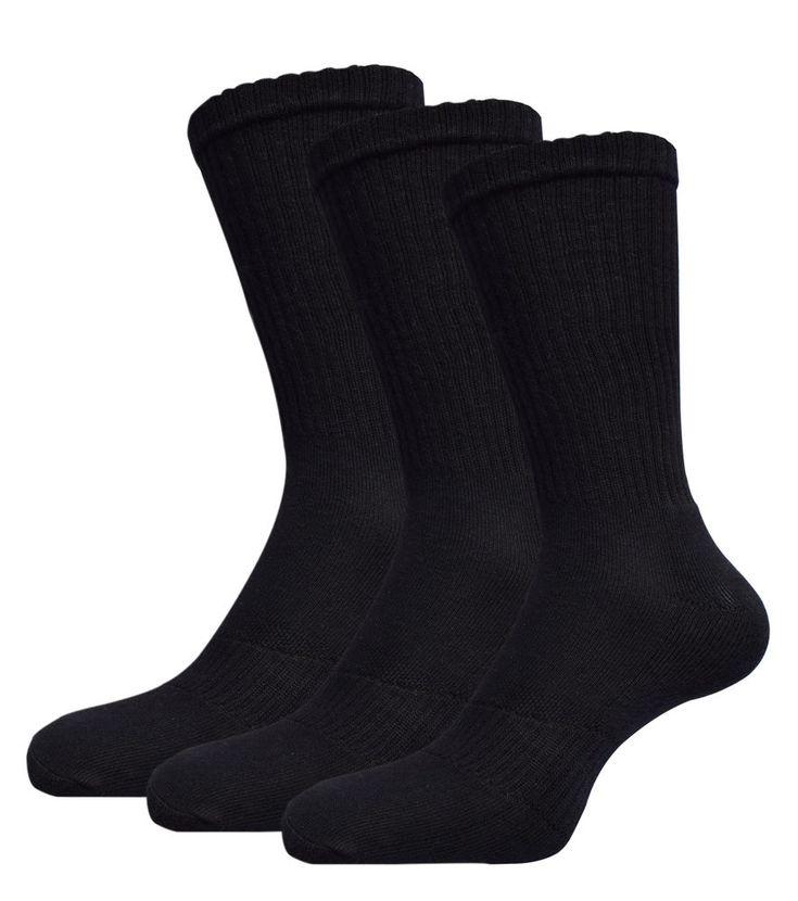 Arbeitssocken Sportsocken Schwarz Baumwolle Damen Herren Socken Mit Frotteesohle  | eBay